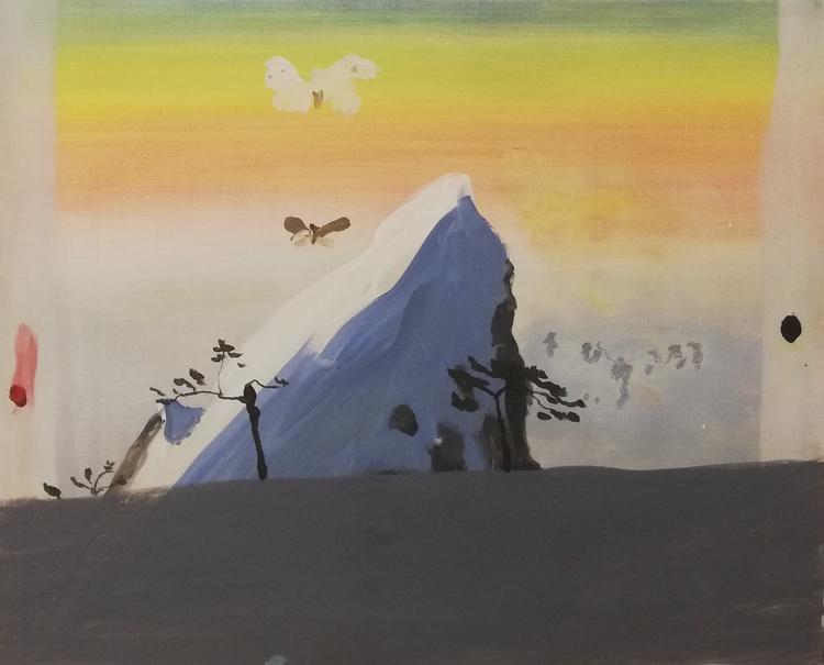 'Skymning och fjärilar', 2016, ett konstverk av Märta König