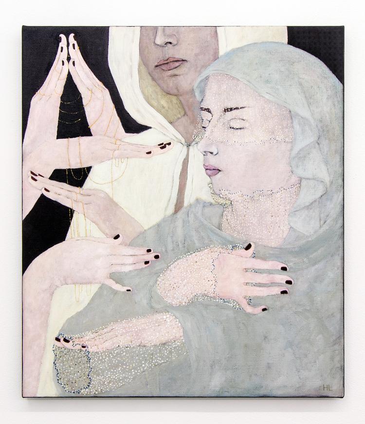'Händer med kedjor och spetts', 2018, ett konstverk av Humlan Lange