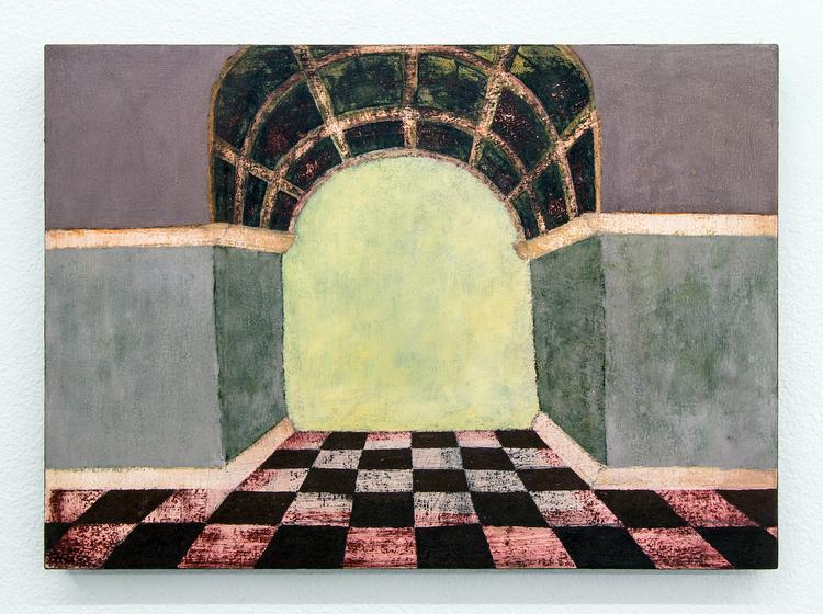 'Rutigt golv och tak', 2018, ett konstverk av Humlan Lange