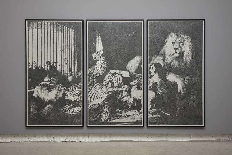 'Isaac van Amburgh and his Animals', 2017, ett konstverk av EvaMarie Lindahl