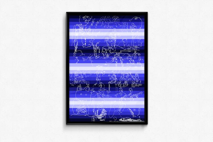 'Blue Light District', 2018, ett konstverk av Victor Gravestam