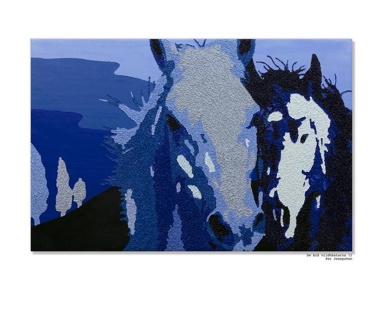 'De Blå Vildhästarna II', 2019, ett konstverk av Per Josephson