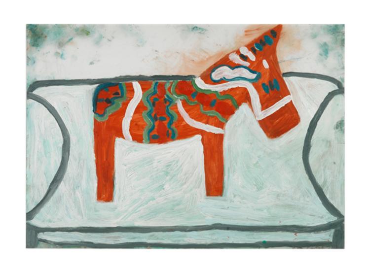 'Dalahäst', 2013, ett konstverk av Eva Kerek