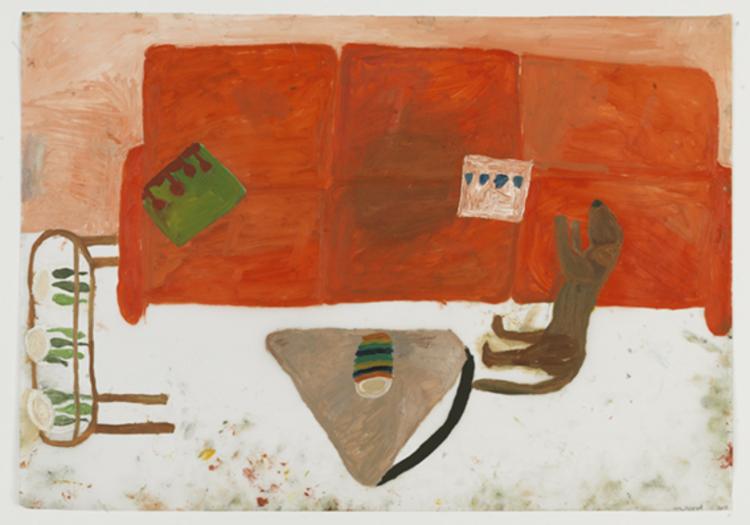 'Hasse i röda soffan', 2013, ett konstverk av Eva Kerek