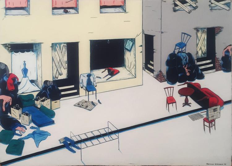 'Gata med Urna', 1979, ett konstverk av Kristina Abelli Elander