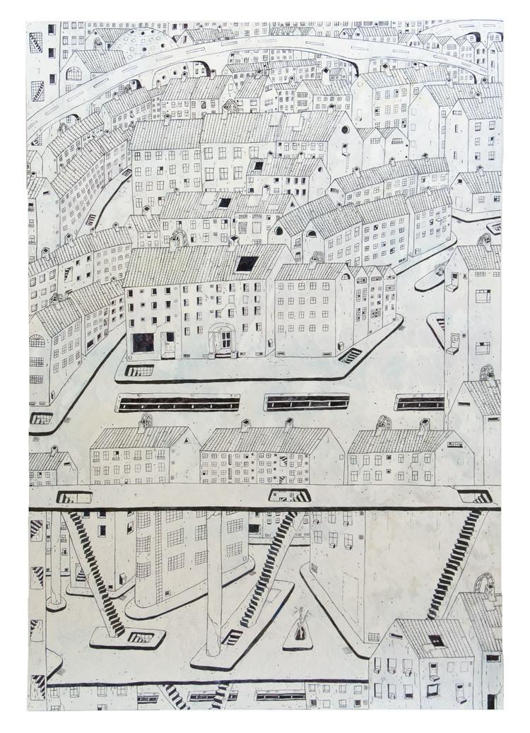 'Cityscape Skanstull/Iron Building', 2015, ett konstverk av Kristina Abelli Elander