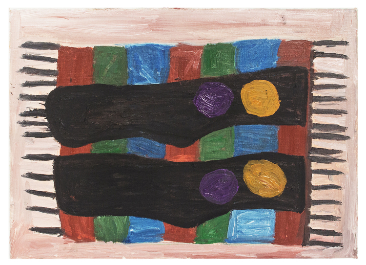 'Strumporna som blev kvarglömda på mattan', 2018, ett konstverk av Eva Kerek