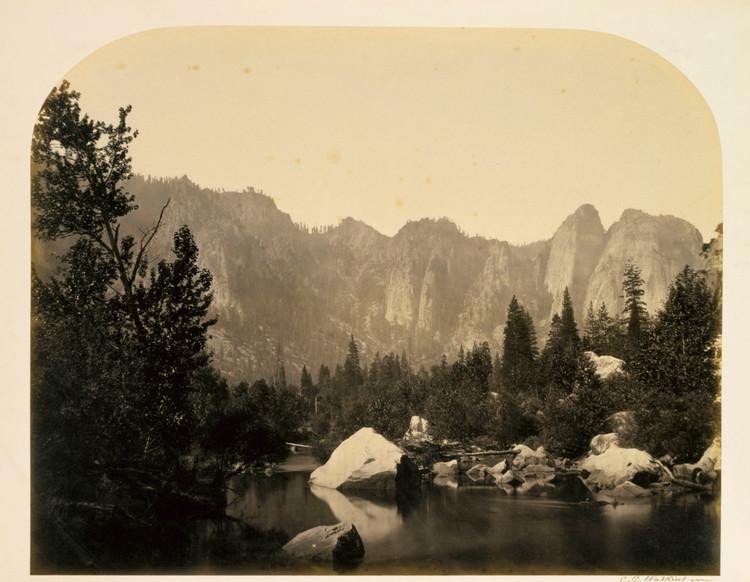 'Down the Valley, Yosemite', 1861, ett konstverk av Carleton E Watkins