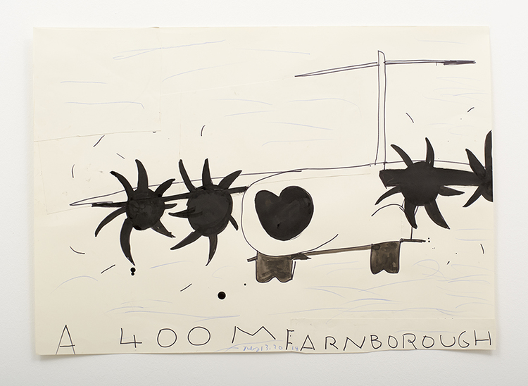 'A 400M Farnborough (Blue Sky)', 2014, ett konstverk av Rose Wylie