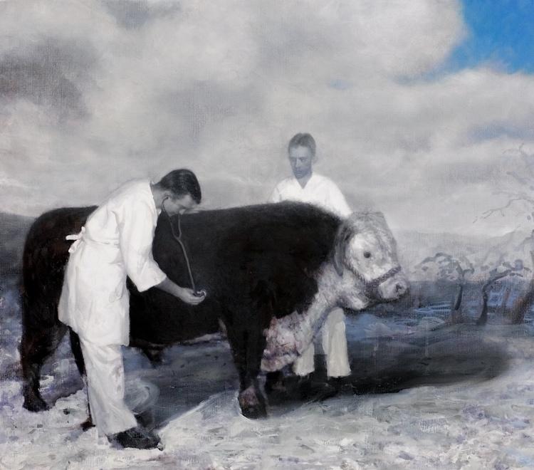 'The Sick Bull', 2017, ett konstverk av Kristoffer Zetterstrand