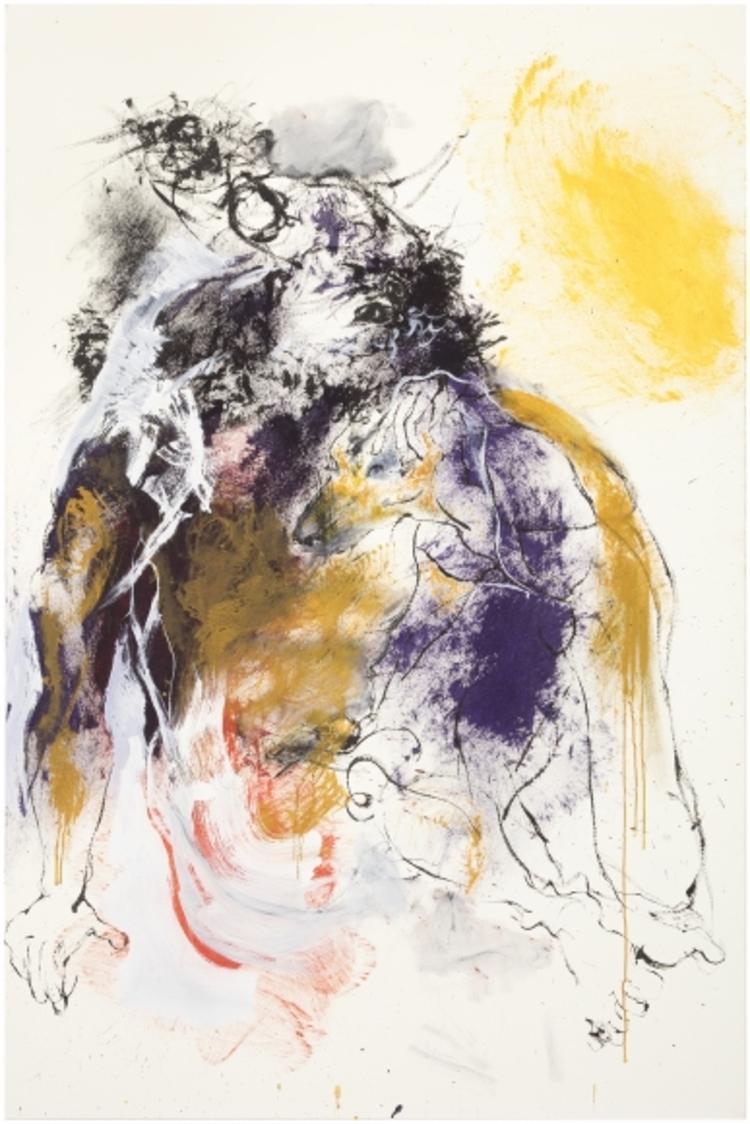 'Minotauros ja koira', 2017, ett konstverk av Marjatta Tapiola