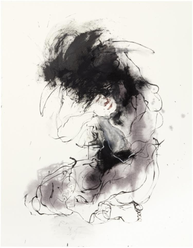 'Minotauros ja sydän', 2017, ett konstverk av Marjatta Tapiola