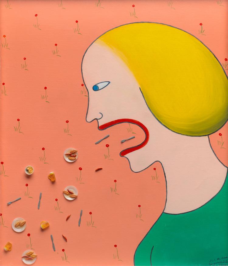 'Dam och tapet', 1973, ett konstverk av Marie-Louise Ekman