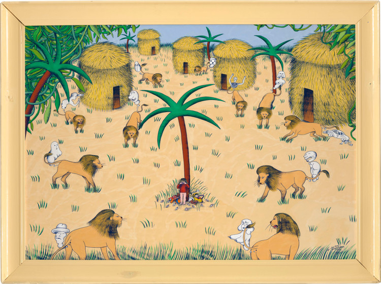 'I djungeln', 1976, ett konstverk av Marie-Louise Ekman