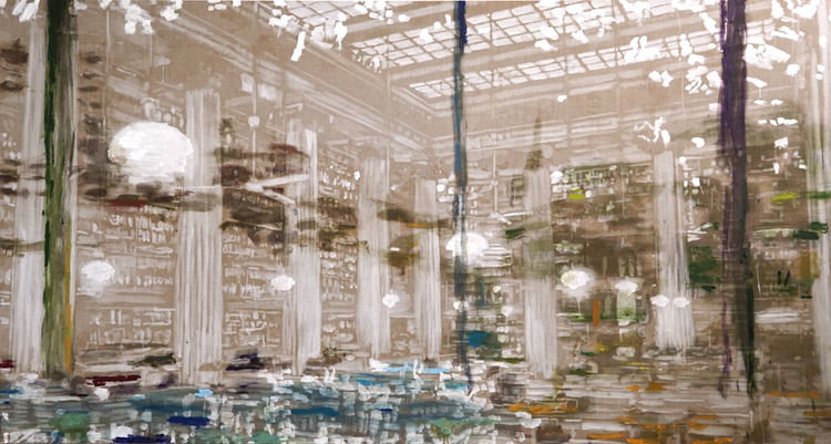 'Flygtigt og robust (Library in Athens)', 2017, ett konstverk av Karen Gabel Madsen