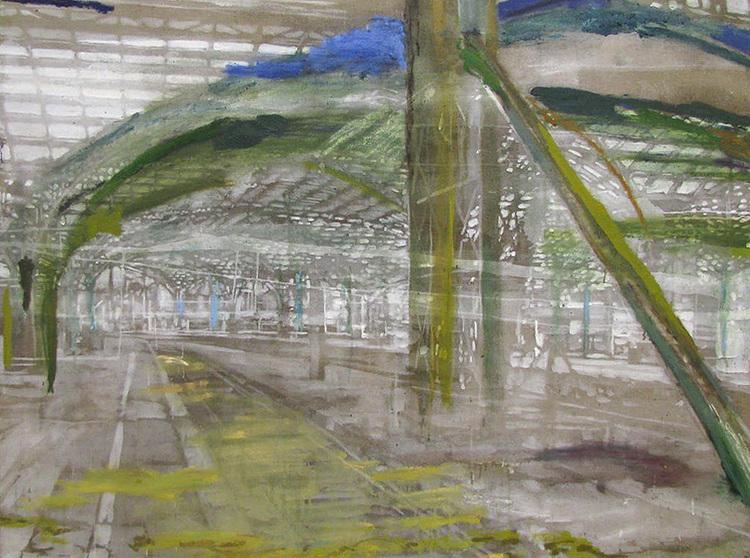 'Lysning i landskapet (Train station in Cologne)', 2017, ett konstverk av Karen Gabel Madsen
