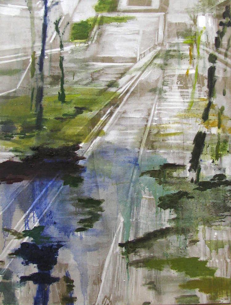 'Flydende, dengang (Train station in Athens)', 2017, ett konstverk av Karen Gabel Madsen