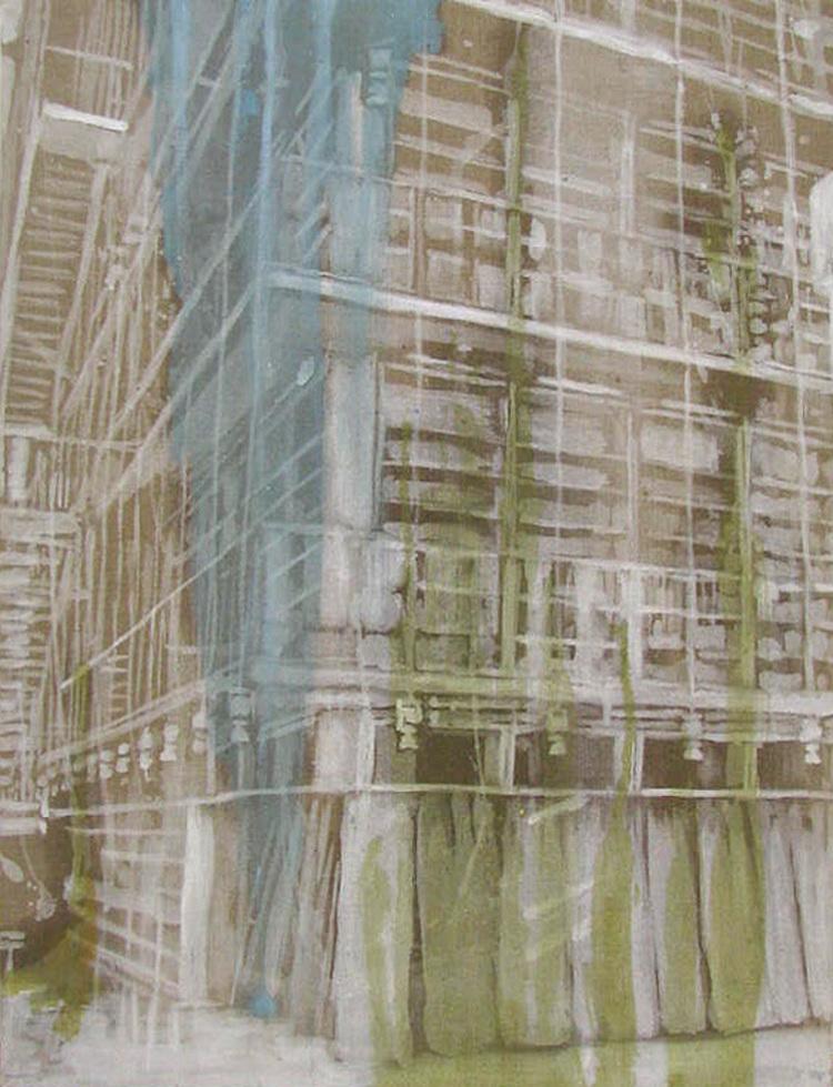 'Farve på rum, rolig (The new library in Athens)', 2017, ett konstverk av Karen Gabel Madsen