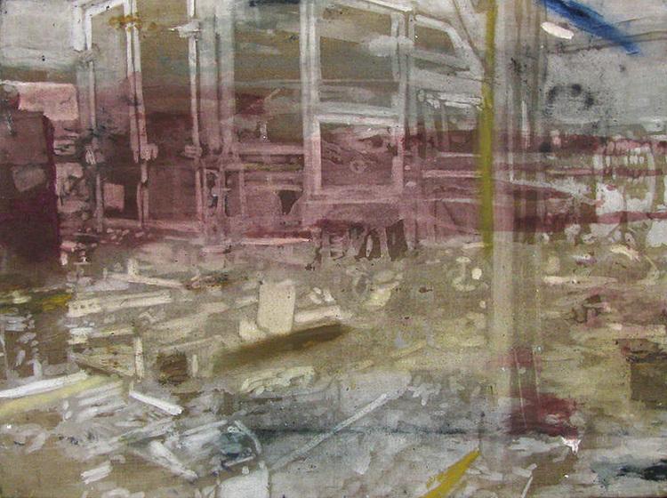 'Naser på arbejde I (Humlebæk Auto)', 2017, ett konstverk av Karen Gabel Madsen