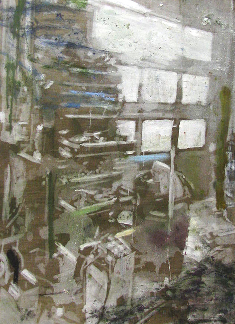 'Naser på arbejde II (Humlebæk Auto)', 2017, ett konstverk av Karen Gabel Madsen