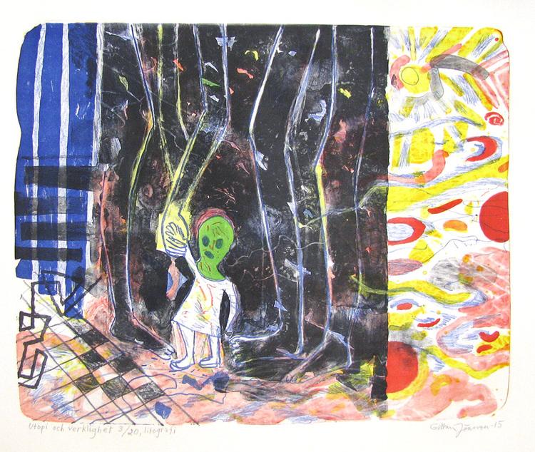 'Utopi och verklighet', 2015, ett konstverk av Gittan Jönsson