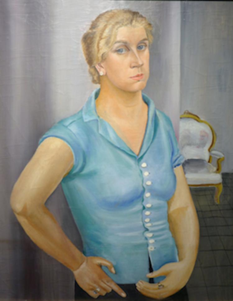 'Självporträtt i blågrön blus', 1930, ett konstverk av Tyra Lundgren