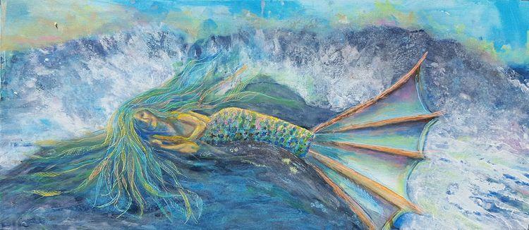 'Mermaid resting in seafoam', 2017, ett konstverk av Yvonne Walther