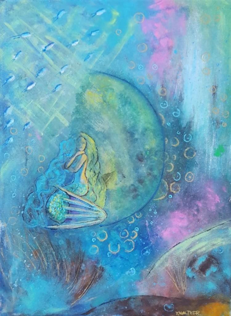 'Mermaid in kosmos', 2017, ett konstverk av Yvonne Walther