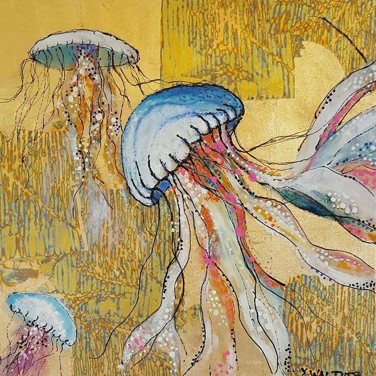 'Jellyfish on gold', 2018, ett konstverk av Yvonne Walther