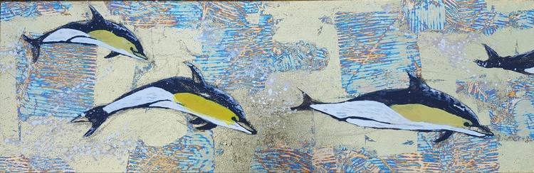 'Happy dolphins ', 2018, ett konstverk av Yvonne Walther