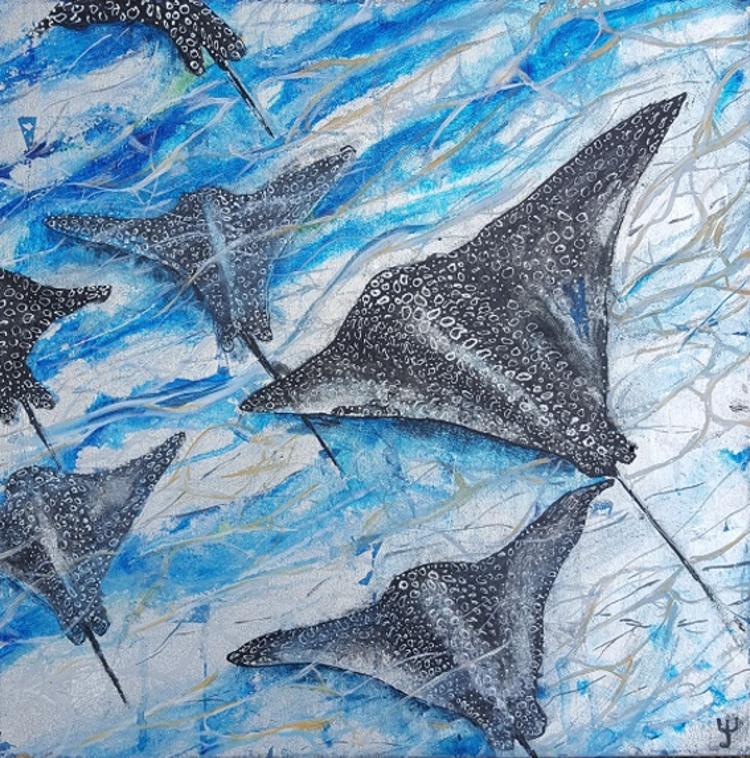 'Rays in the ocean', 2018, ett konstverk av Yvonne Walther
