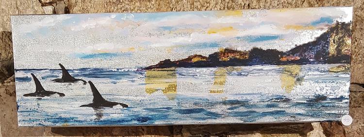 'Three orcas ', 2018, ett konstverk av Yvonne Walther