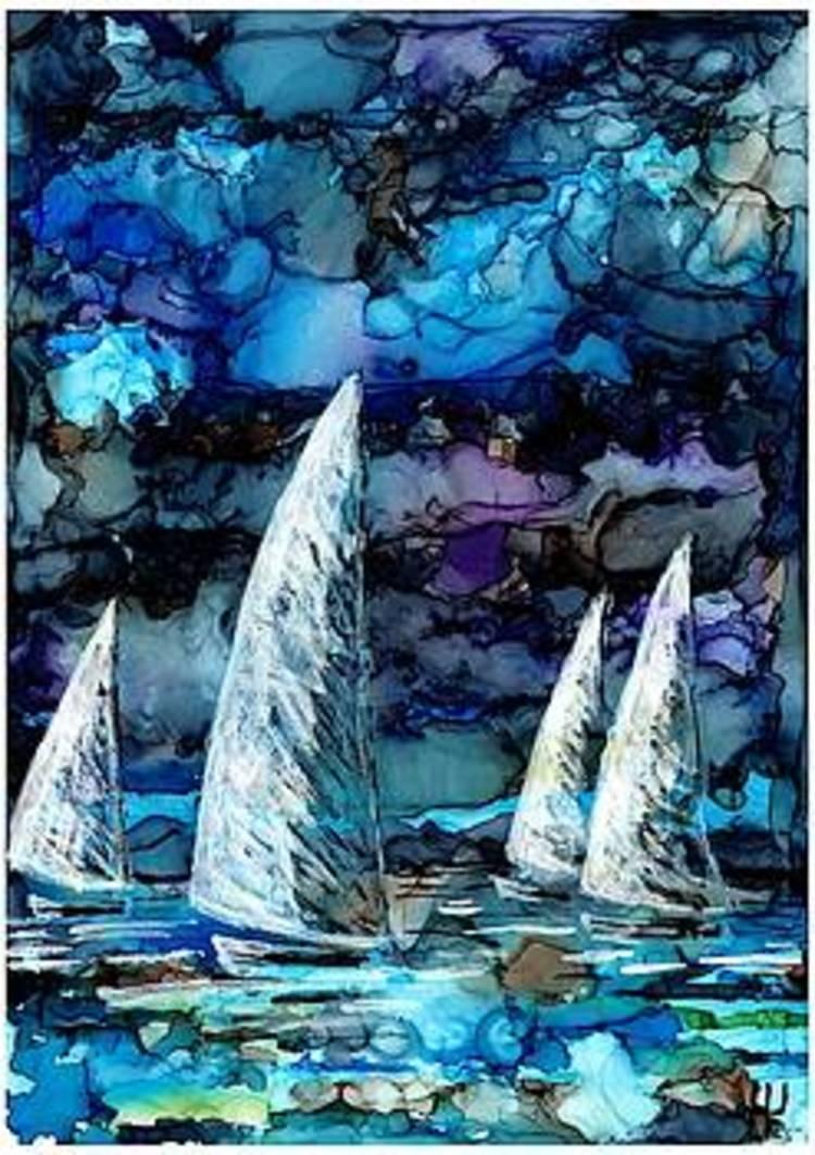 'Sails and stormy sky', 2019, ett konstverk av Yvonne Walther