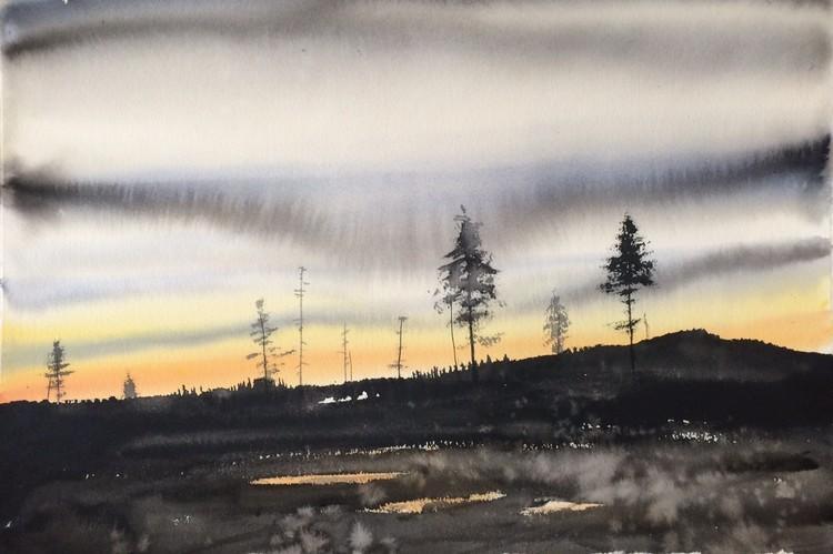 'Sunset / Medelpad', 2017, ett konstverk av Peter Eugén Nilsson