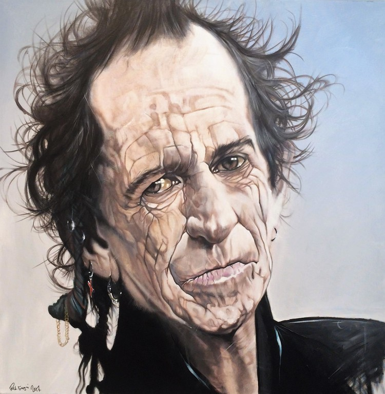 'Keith Richards Portrait', 2017, ett konstverk av Peter Eugén Nilsson