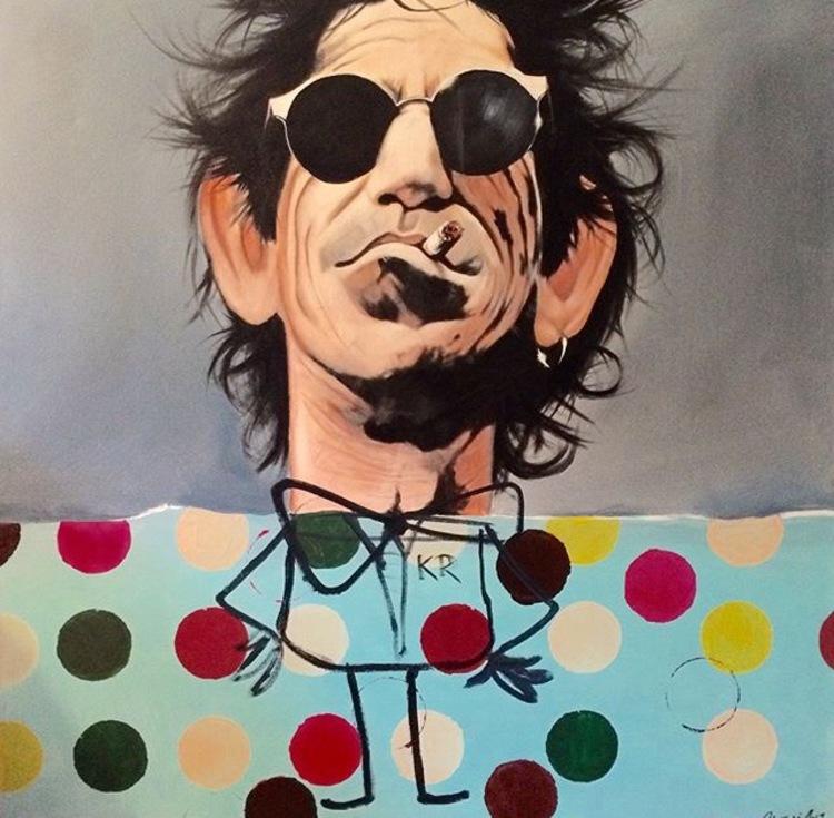 'Keith Richards Smoke Popart', 2017, ett konstverk av Peter Eugén Nilsson