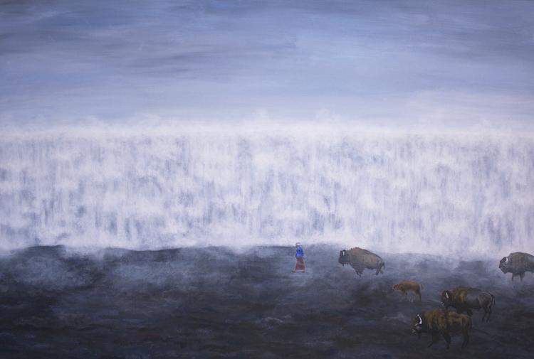 'Bufflarnas promenad', 2017, ett konstverk av Clara Lundgren