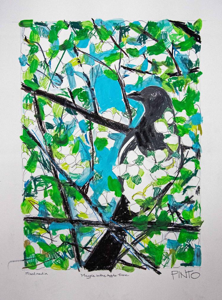 'Magpie in the Apple Tree', 2012, ett konstverk av Ezequiel Pinto-Guillaume
