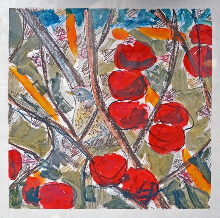 'Björktrast i äppelträdet', 2017, ett konstverk av Ezequiel Pinto-Guillaume