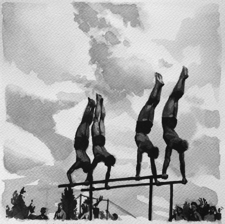 'Fyra man på barr', 2019, ett konstverk av Natali Mårtensson