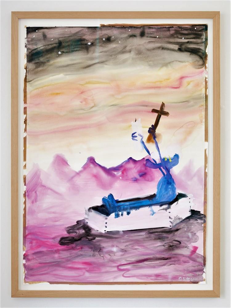 'Drama in coffin', 2017, ett konstverk av Oskar Nilsson