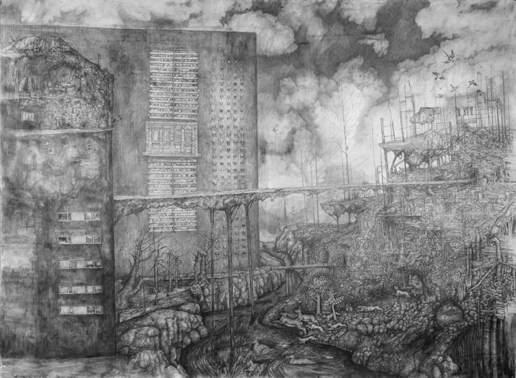 'Betongorgier vid vattendrag', 2019, ett konstverk av Mattias Bäcklin