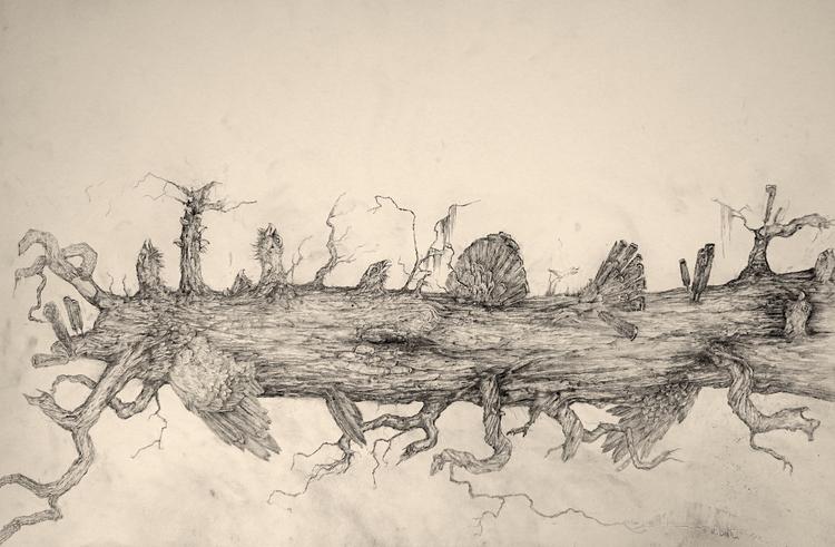 'Gengångare i stock', 2019, ett konstverk av Mattias Bäcklin