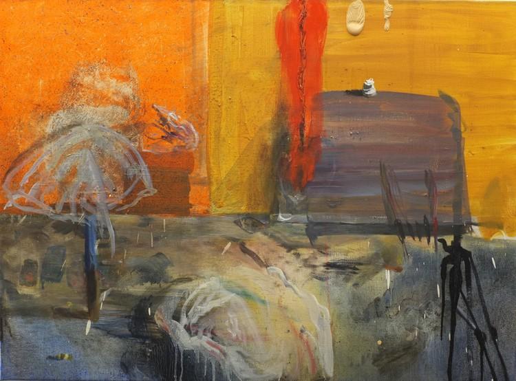'Interiör med trasor', 2018, ett konstverk av Märta König