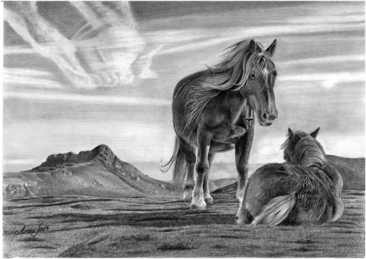 'Wild horses', 2017, ett konstverk av Amer Sari