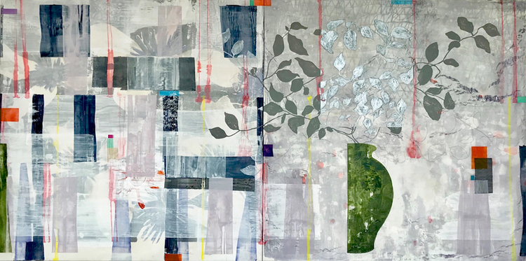 'Horizontal Vertical-With Green Jar ', 2018, ett konstverk av Jet-te L Ranning