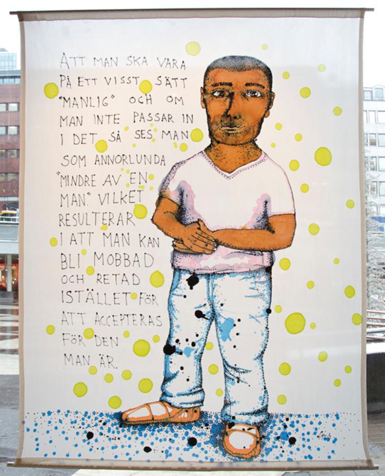 """'Att man skall vara på ett visst sätt """"manlig"""" - Schyssta Killar ', 2017, ett konstverk av Linea Matei"""