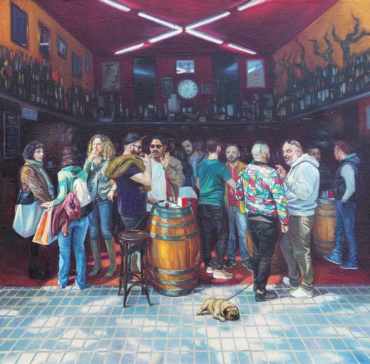 'Pub scene', 2017, ett konstverk av Sasha Sokolova