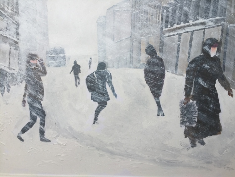 'Grev Turegatan i snöoväder', 2016, ett konstverk av Anders Gabrielsson