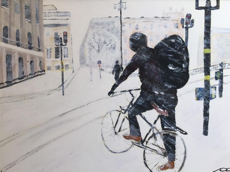 'På cykel vid Tegelbacken', 2016, ett konstverk av Anders Gabrielsson